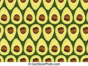 Avocado slice seamless pattern on green background, Fruits vector illustration