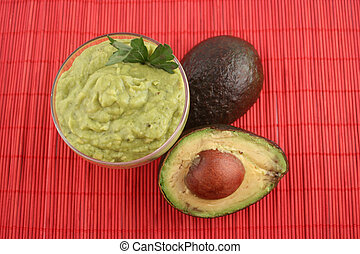 guacamole - avocado sliced, guacamole