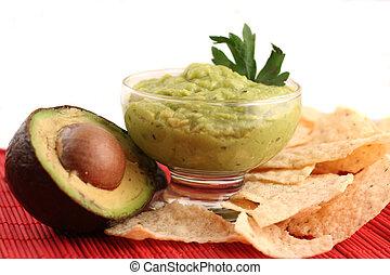 guacamole - avocado sliced, guacamole,and chips