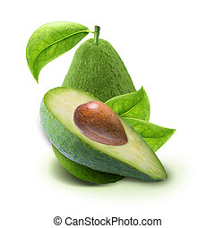 Avocado slices and leaves isolated  on white with clipping path