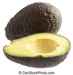 avocado slices isolated on a white background