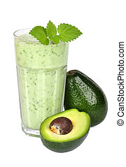Avocado smoothie isolated on white background
