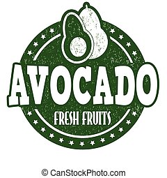 Avocado grunge rubber stamp or label on white, vector illustration