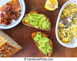 Avocado toast with bacon and eggs