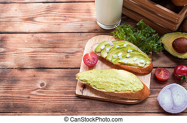 avocado toast with Mix Salad and healthy. Fresh organic vegetables for cooking diet food.