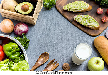 Avocado Toast with Salad and healthy. Fresh organic vegetables for cooking diet food with milk