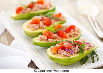 Avocado, tuna and tomato salad.