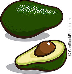 Avocado - Vector illustration of an avocado isolated on a...