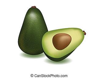 Avocado - vector illustration. ripe avocado on white...