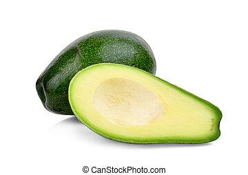 avocado, vrijstaand, achtergrond, helft, witte , geheel