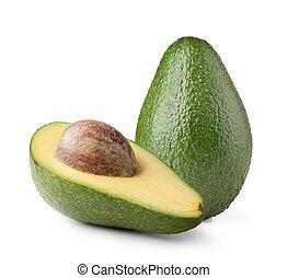 avocado, vrijstaand, op wit