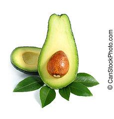 avocado, vruchten, knippen, met, blad, vrijstaand, op wit
