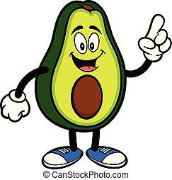avocado, wijzende, mascotte
