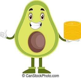 Avocado with coins, illustration, vector on white background.