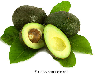 Avocado with leaves on white background