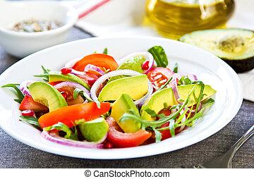 Avocado with Pomegranate and Rocket salad