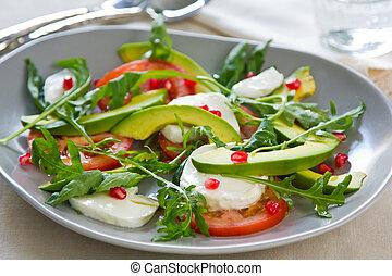 Avocado with Pomegranate, Mozzarella and Rocket salad