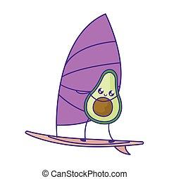 avocado with sailboat kawaii style