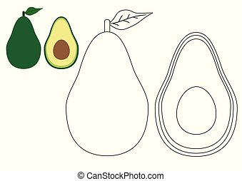 Avocadoes. Coloring book. Kids game. Vector