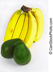 Avocados and bananas - Avacados and bananas on a white...