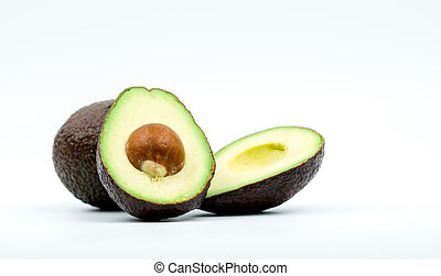 Avocados isolated on white background with clipping path. Source of omega 3 from natural food