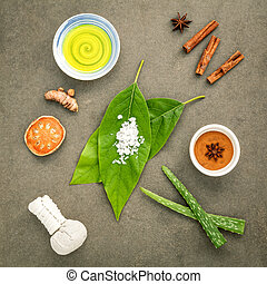 Avocados  leaves with nature spa ingredients turmeric