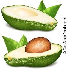 avocado's, met, kern, vector, illustratie