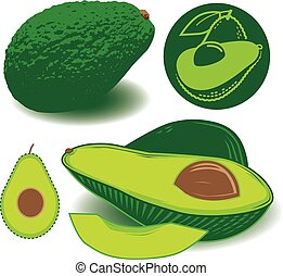 Avocados - Avocado clip art collection