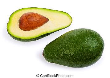 avocado's, vrijstaand, op, een, witte achtergrond