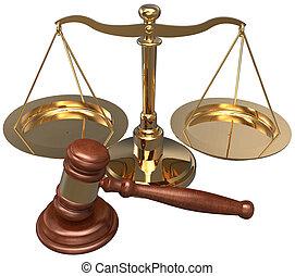 avocat, échelle, justice, légal, avocat, marteau