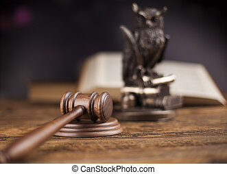 avocat, bois, système, légal, concept, justice, marteau