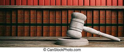 avocat, bureau., juge, marteau, et, droit & loi, books., 3d, illustration
