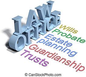 avocat, propriété, bureau, volontés, planification, droit & ...