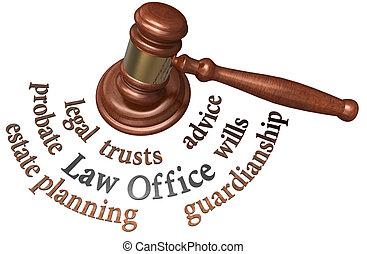 avocat, propriété, volontés, mots, marteau, validation