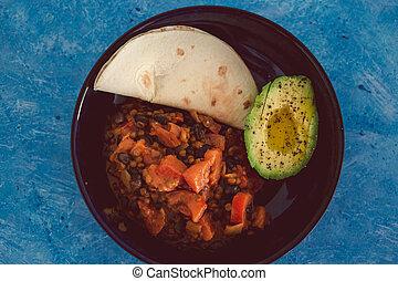 avocat, tortilla, nourriture, mexicain, plant-based, mélange, haricot, vegan, pain, mini