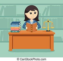 avocat, travail, elle, femme, bureau