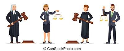 avocat, vecteur, tenue, marteau, balances, ouvriers, juges, ...