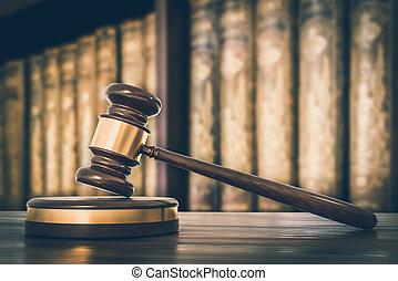 avocats, bureau, bois, livres, marteau, droit & loi