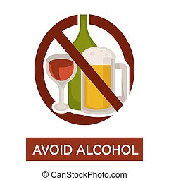 Avoid alcohol warning crossed beer and wine icon