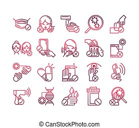 avoid and prevent spread of covid19 icons set gradient icon...