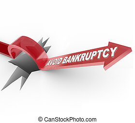 Avoid Bankruptcy - Financial Recovery Arrow Jumps Over Hole