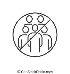 Avoid crowded places related vector thin line icon