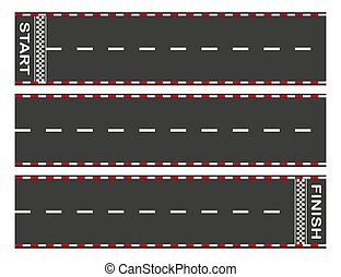 Avoid the asphalt road from start to finish. Background of car or go-kart road race. top view. Abstract graphic element of asphalt road racing concept. Vector