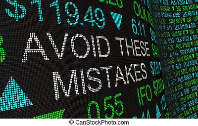 Avoid These Mistakes Investing Errors Dangers Risks Stock ...
