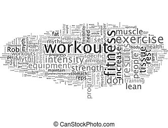 Avoid These Top Workout Myths text background wordcloud concept