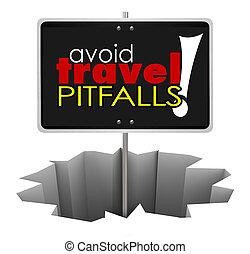 Avoid Travel Pitfalls Warning Sign Hole Trouble Problem -...