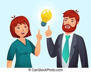 avoir, épouse, couple, avoir, idées, illustration, ou, idea., résolu, lampe, vecteur, solution, adulte, femme, problème, mâle, dessin animé, mari