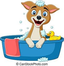 avoir, bain, chien, dessin animé