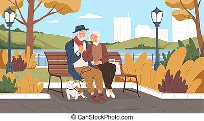 avoir, banc, grands-parents, style., dessin animé, ensemble., homme, heureux, personnes agées, séance, vecteur, sourire., illustration, park., walk., romantique, dépenser, femme, date, deux, amants, personne agee, temps, plat, couple