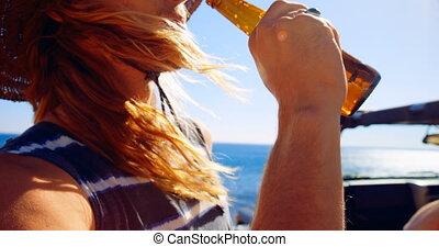 avoir, bière, homme, 4k, plage
